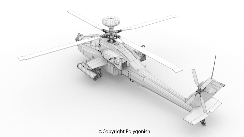 Boeing AH-64 Apache Helicopter 3D Model