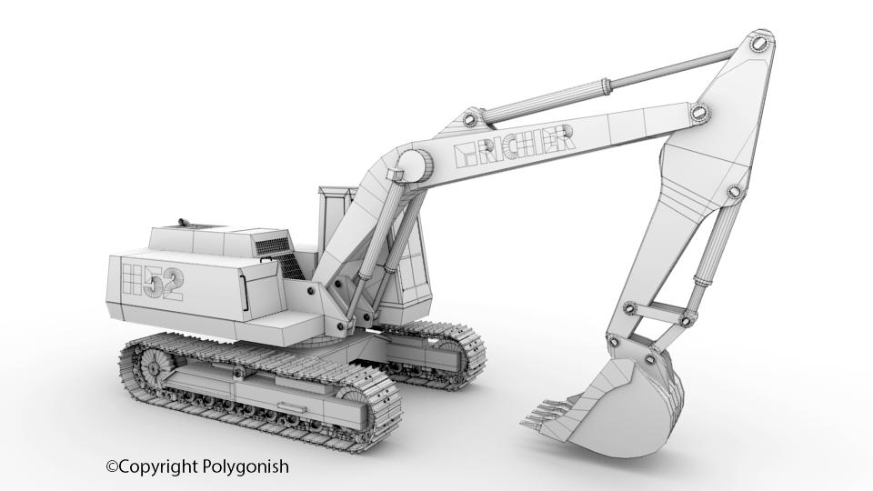 Richier H52 Excavator 3D Model