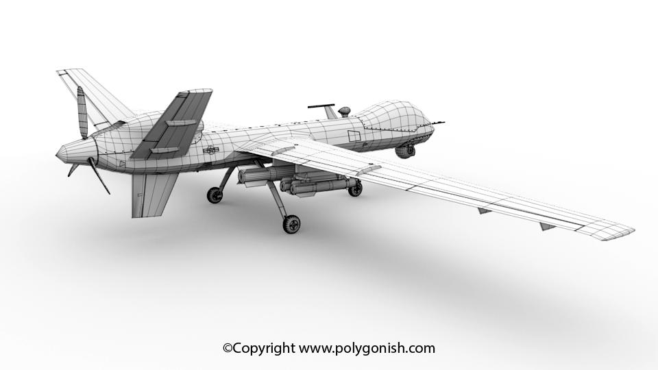 MQ-9 UAV 3D Model