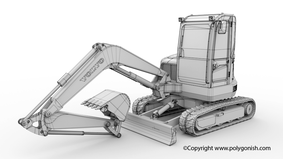 Volvo ECR58D Excavator 3D Model