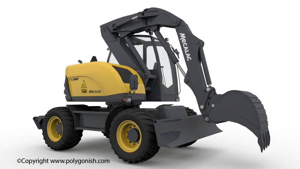 Mecalac 714MWe Excavator 3D Model
