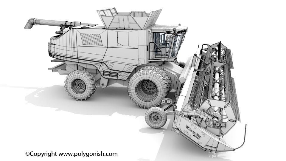 Massey 9565 Combine 3D Model