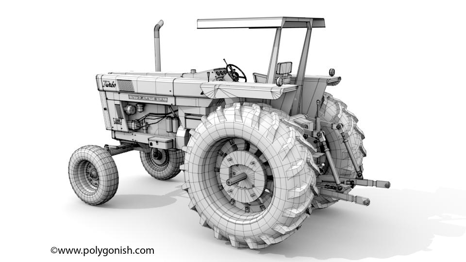 International Harvester 1066 Tractor 3D Model