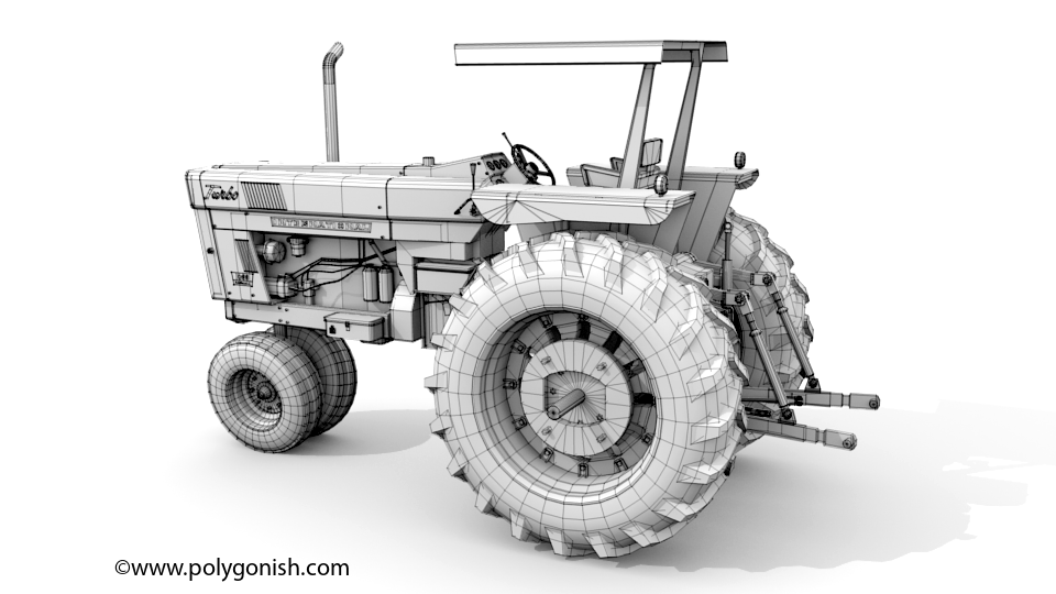 International Harvester 1066 Narrow Front Tractor 3D Model