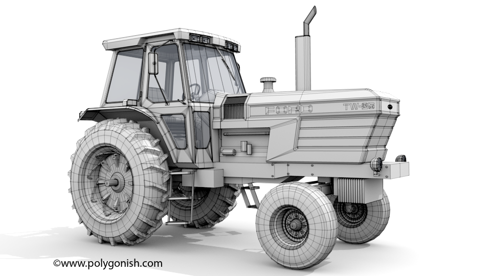 Ford TW25 2WD Tractor 3D Model