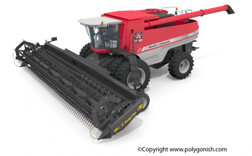 Massey 9560 Combine 3D Model