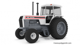 White 185 Field Boss Tractor 3D Model Front