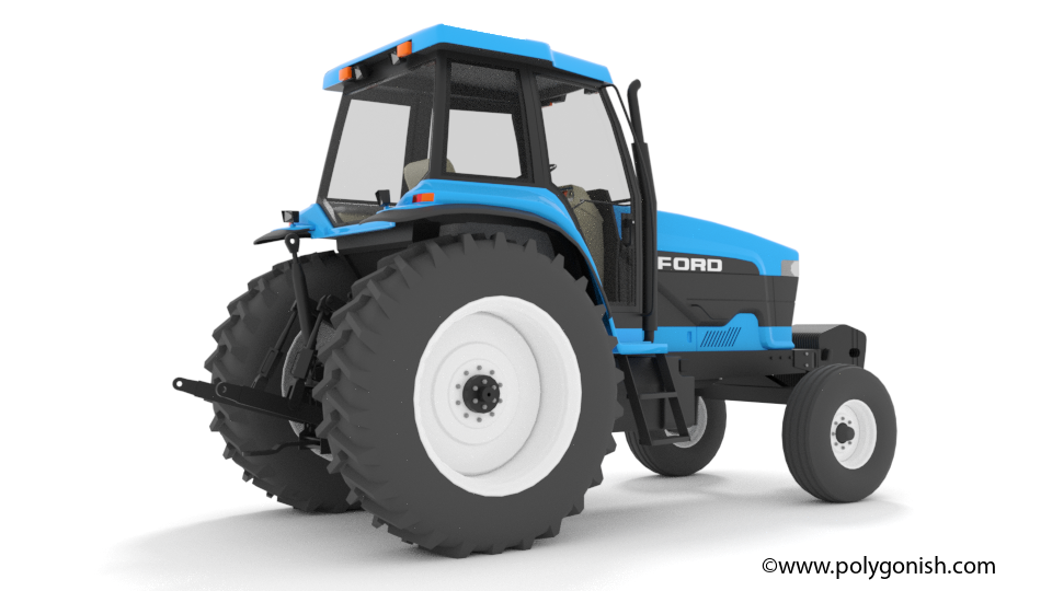 Ford 8870 2WD Tractor 3D Model