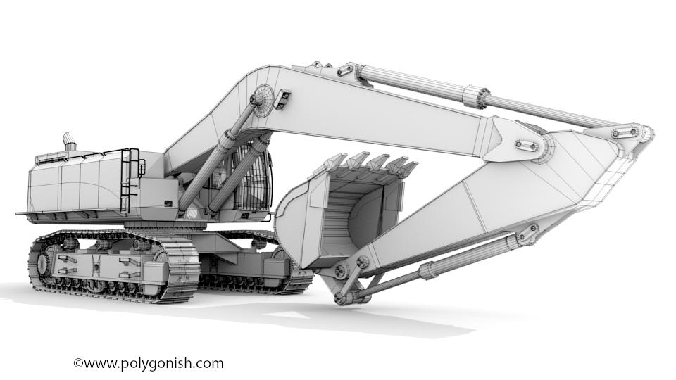 Hydraulic Excavator 3D Model