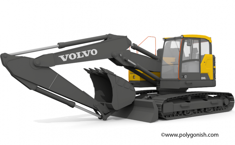 Volvo ECR145E Excavator 3D Model