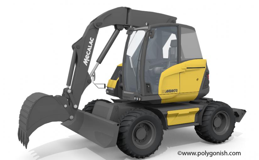 Mecalac 15MWR Excavator 3D Model