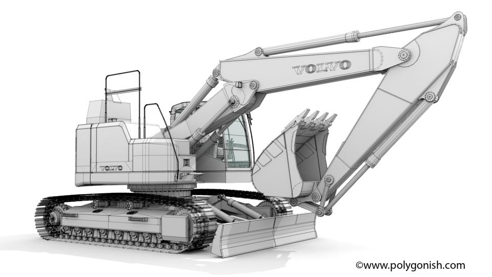 Volvo ECR355E Excavator 3D Model