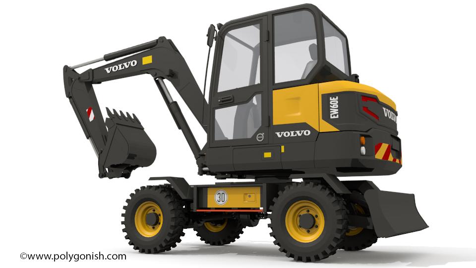 Volvo EW60E Excavator 3D Model
