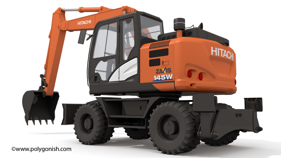 Hitachi 145W Excavator 3D Model
