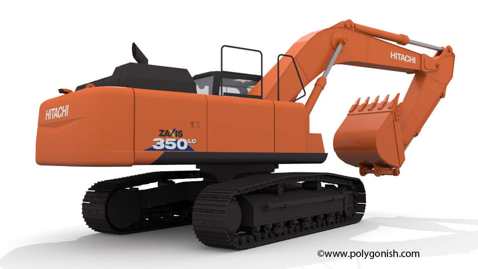 Hitachi ZAXIS 350 3D Model back view