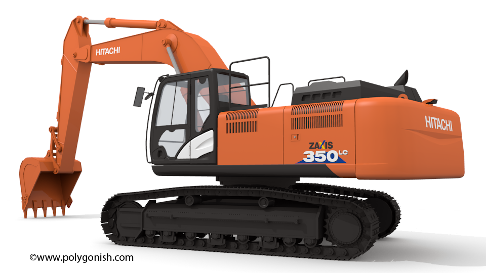 Hitachi ZAXIS 350 3D Model Back Side View
