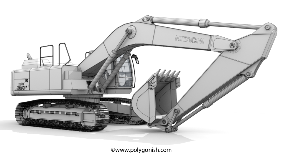 Hitachi ZAXIS 350 3D Model Front Wireframe