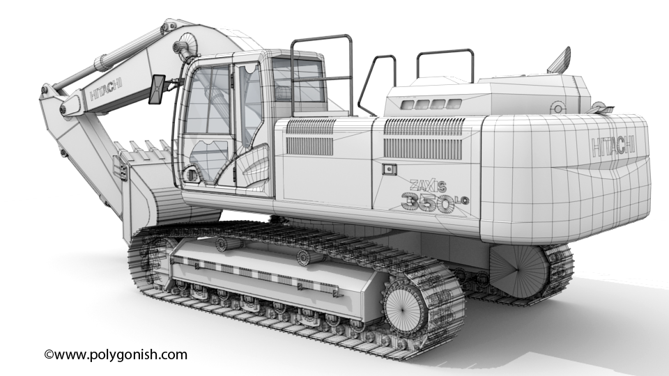 Hitachi ZAXIS 350 3D Model Back Wireframe
