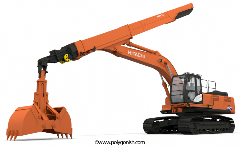 Hitachi ZAXIS 350 Telescopic Arm 3D Model
