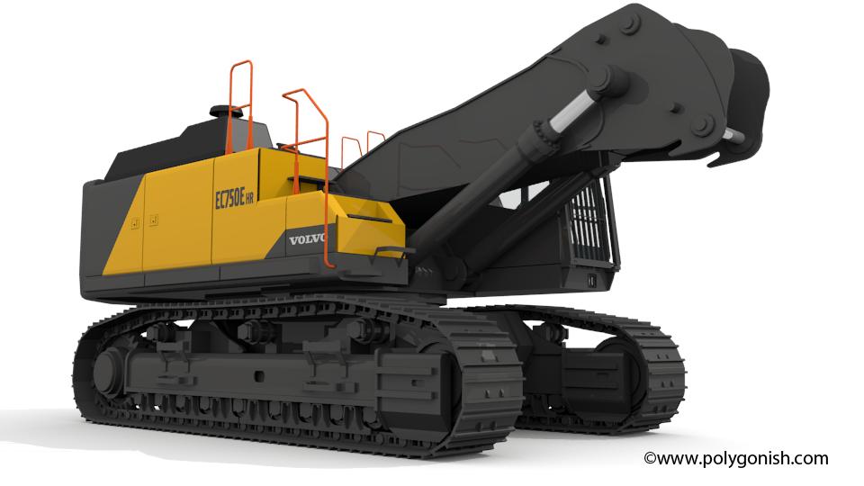 Volvo EC750EHR Excavator 3D Model