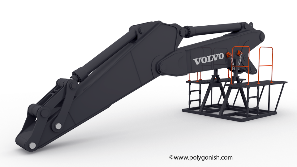 Volvo EC750EHR Excavator DIGGING EQUIPMENT 3D Model