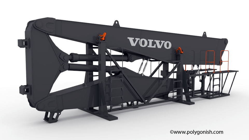 Volvo EC750EHR Excavator 3-PIECE DEMOLITION BOOM 3D Model