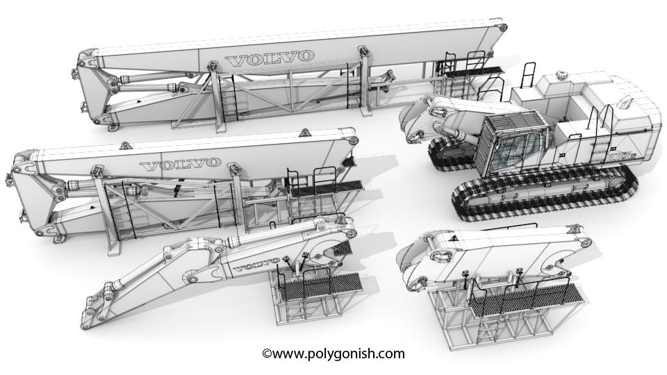 Volvo EC750EHR Excavator Wire 3D Model