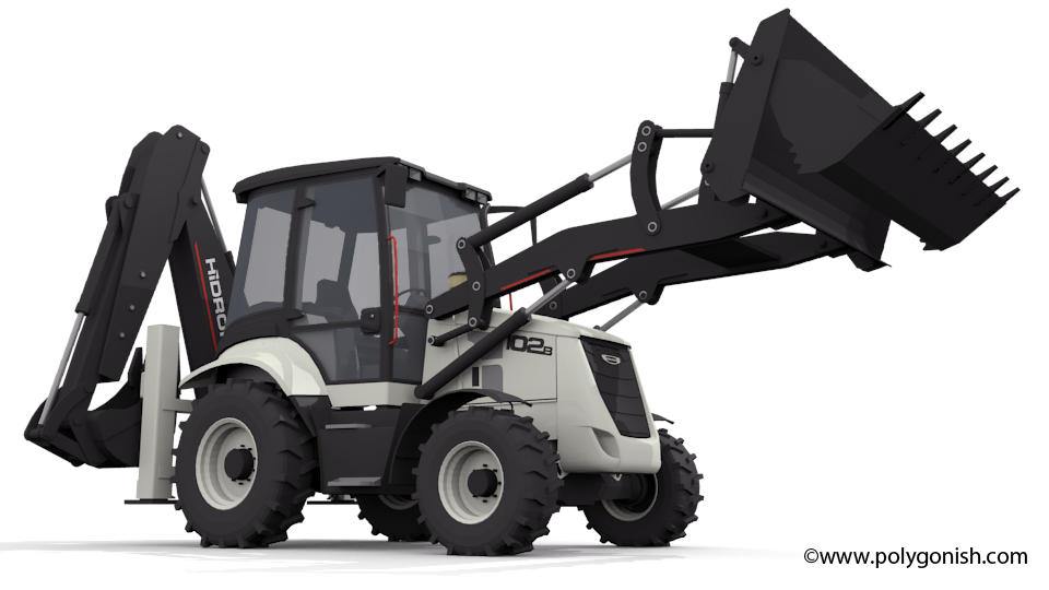 Hidromek 102B Backhoe Loader 3D Model