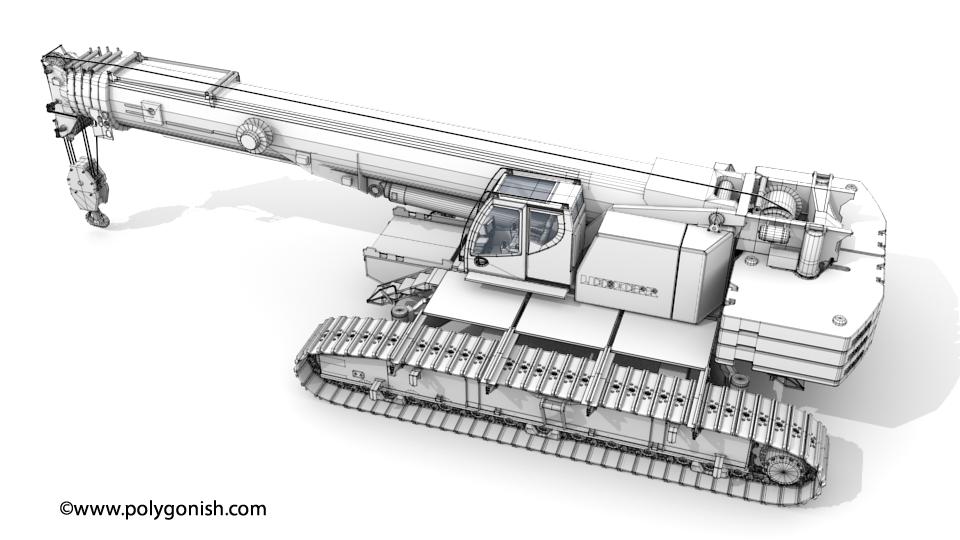 Liebherr LTR1220 Telescopic Crawler Crane 3D Model