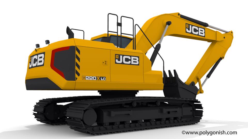 JCB 220X Excavator 3D Model