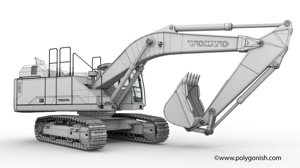 Volvo EC380E Excavator 3D Model