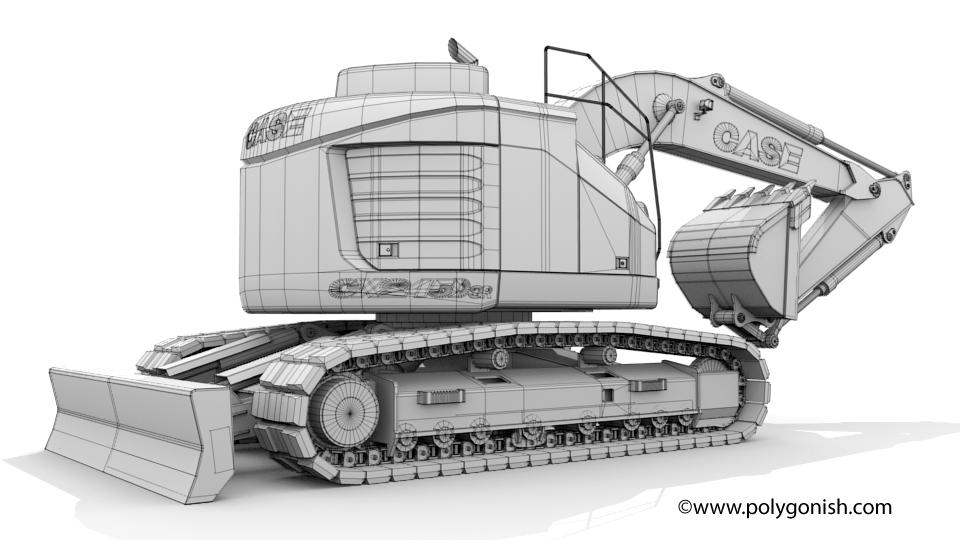 Case CX245D SR Mono Boom Crawler Excavator 3D Model