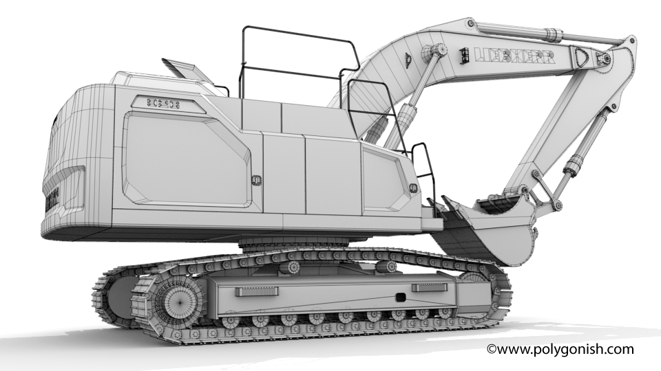 Liebherr R 926 Excavator Mono Boom 3D Model