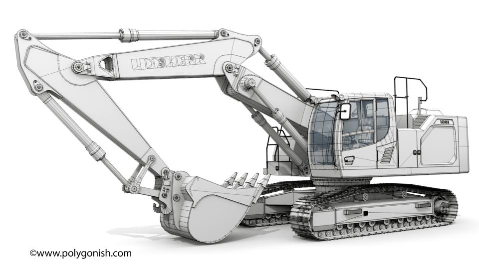 Liebherr R 938 Two-Piece BoomExcavator 3D Model