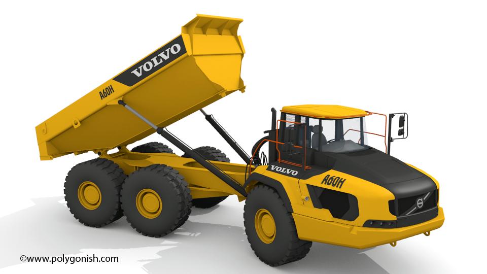 Volvo A60H Articulated Hauler 3D Model
