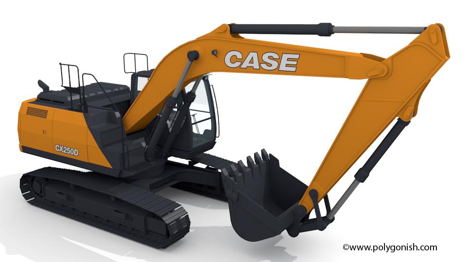 Case CX250D Excavator 3D Model
