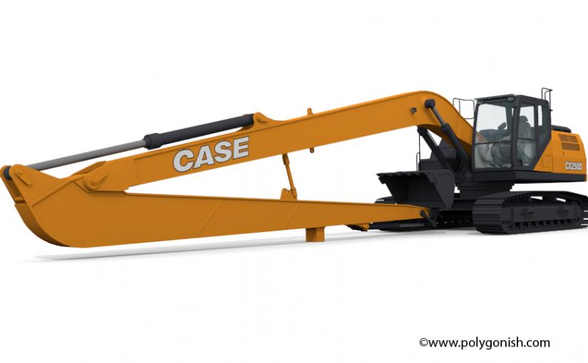 Case CX250D LR Excavator 3D Model