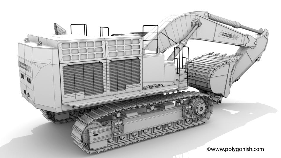 Doosan DX800LC-7 Excavator 3D Model